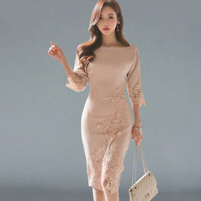 2019 Women Pencil Sheath Party Sexy Short Sleeve Dress Bodycon Floral Lace Dress