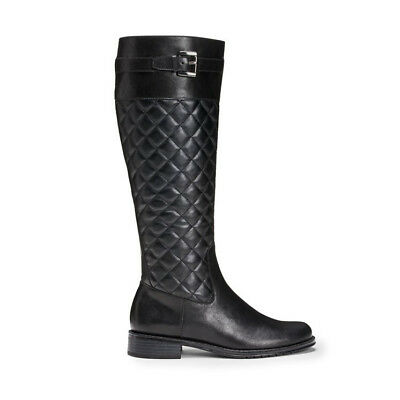 A2 by Aerosoles Black Quilted Knee High Ride Extendable Adjustable Calf Boot 7.5