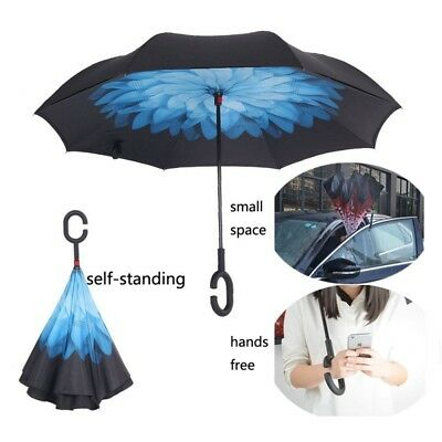 Upside Down Reverse-Umbrella Double Layer Inside-Out Inverted Self Standing Type