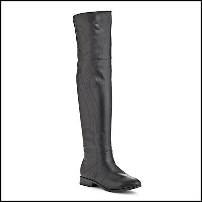 """NY VIP Black Embroidered Over the Knee Vegan 1"""" Heel Boot Boots Size 6 • NEW"""