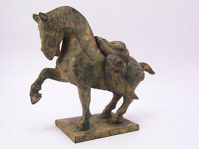 Antique Asian Cast Iron Tang Style Horse Incense Burner w/ Removable Saddle