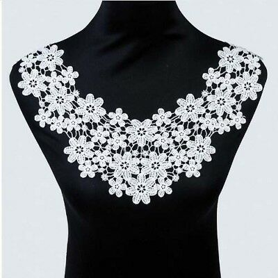 1x Lace Neckline Collar Beautiful Flower Embroidery Lace Applique DIY Sewing