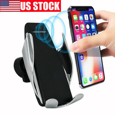 Qi Wireless Fast Charger Car Mount Holder Automatic Infrared Sensor Charging 10W