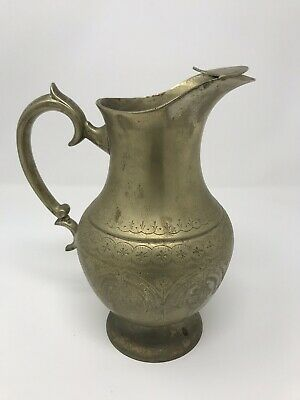 """A08: Vintage 9.5"""" EPNS Silver Plate Drink Pitcher India"""