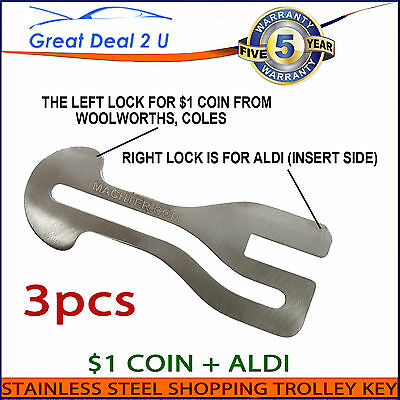 $1 Coin Universal Removable Shopping Trolley Key Slot ALDI WOOLWORTHS COLES SET