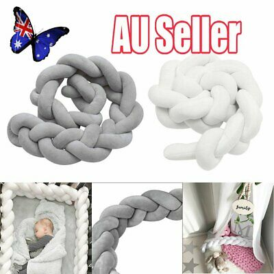 2/3M Infant Baby Plush Crib Bumper Bedding Bed Cot Braid Pillow Pad Protector NW