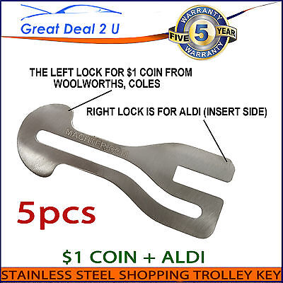 Universal Removable 5 X Shopping Trolley Key $1 Coin Slot ALDI WOOLWORTHS COLES