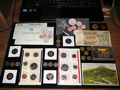 Junk Drawer Coin Lot US Mint COIN Set+Old Wheat Coins+Half Dollars Litho 1955-s
