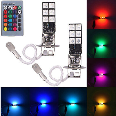 2pcs H3 5050 RGB 12SMD LED Auto Car Headlight Fog Bulb Lamp Light Remote Control