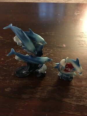 Elegant  Blue Dolphin And Coral Figurine