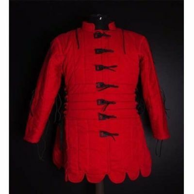 BEAUTIFUL Medieval Thick Padded Red Gambeson Play Custome Sca