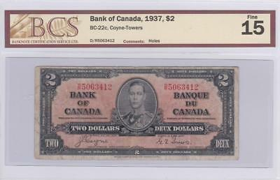 1937 Bank of Canada $2 Bill Coyne Towers BCS Graded F 15  DR 5063412
