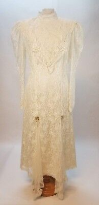 Vintage Victorian Inspired 80s Ivory Lace Wedding Long Sleeved Dress Sz L