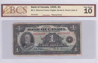 1935 Bank of Canada $1 Bill Osborne Towers BCS Graded VG 10  A 0120169