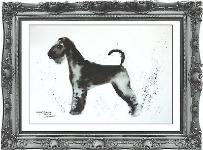 original painting art dog Airedale terrier animals 294LM watercolor signed A3