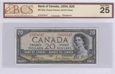 1954 Bank of Canada $20 Devil Face Bill Coyne Towers BCS Graded VF 25 BE 2976547