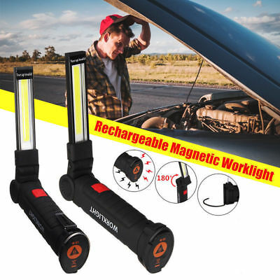 Large 5W LED COB Rechargeable Magnetic Torch Inspection Lamp Cordless Work Light