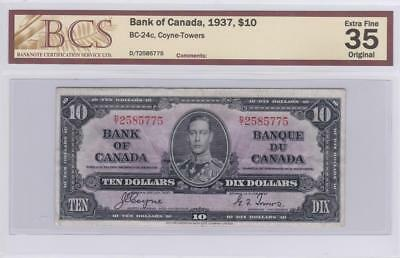 1937 Bank of Canada $10 Bill Coyne Towers BCS Graded EF 35 Original DT 2585775