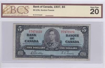 1937 Bank of Canada $5 Bill Gordon Towers BCS Graded VF 20 RC 7472123