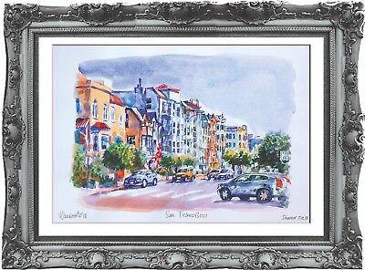 original painting San Francisco USA painting 268UV art watercolor signed A3