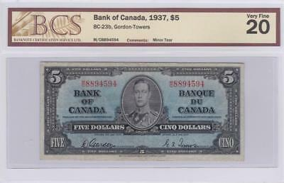 1937 Bank of Canada $5 Bill Gordon Towers BCS Graded VF 20 MC 8894594