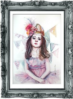 original art painting child circus 220HI watercolor  A3