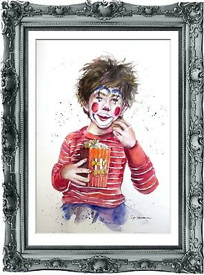 original art painting child circus 221HI watercolor  A3