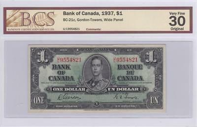 1937 Bank of Canada $1 Bill Gordon Towers BCS Graded VF 30 Origional UL 9554821