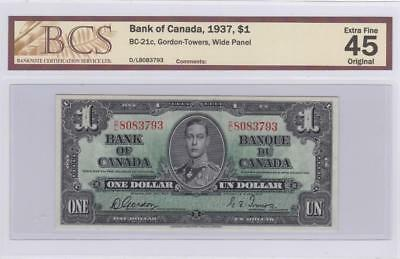 1937 Bank of Canada $1 Bill Gordon Towers BCS Graded EF 45 Original DL 8083793