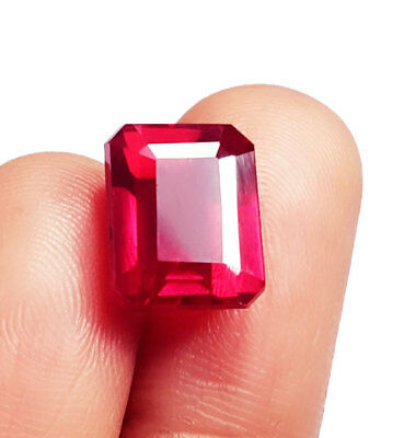 Loose Gemstone Emerald shape 8.92 Ct Natural Red Ruby Certified