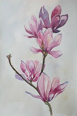 original drawing lavender flowers painting 6X art watercolor signed A3