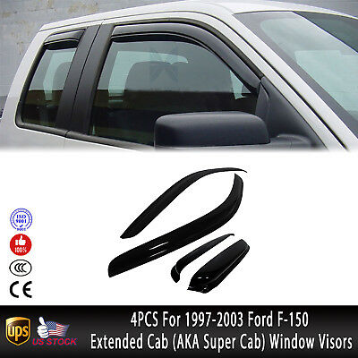 4PCS For 1997-2003 Ford F-150 Extended Cab Vents Window Visors Sun Rain Guards