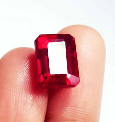 Loose Gemstone Emerald shape 10.77 Ct Natural Red Ruby Certified
