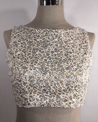ROPALIA Child Size Large (10) Dance Lace Web Sequin Crop Top Nude Lining