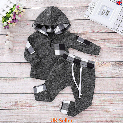 Toddler Infants Kid Baby Boys Hooded Tops Pants Tracksuits Casual Outfit Clothes
