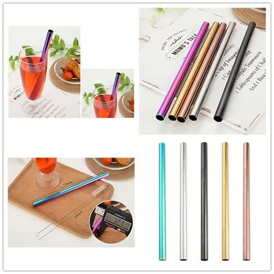 METAL EXTRA LONG 8mm Wide Straw Stainless Steel Drinking