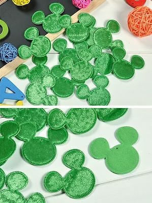 GEE 50PCS Green Padded Sewing Scrapbooking Craft Mouse Head Felt Appliques Craft
