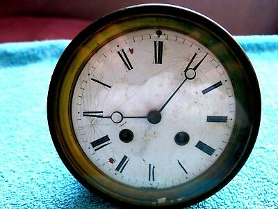 Antique 1855 Vincenti Brass Mantel Clock Mechanical Movement For Restoration