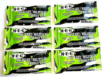Military Energy Gum  6 Pkt Spearmint 100mg Caffeinated Chewing Gum drink prepper