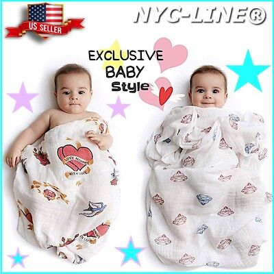 Set of 2 PREMIUM 100% CERTIFIED ORGANIC Cotton Muslin Swaddle Baby Blankets 47""