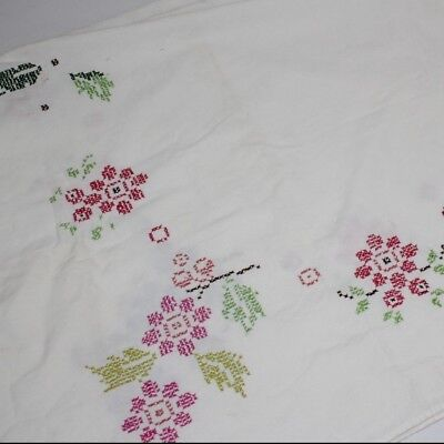 Tablecloth Vintage Embroidered White with Flowers Multicolor Rectangle Floral