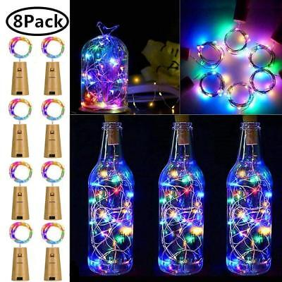 Wine Bottle Lights with Cork, 8 Pack 15 LED Fairy Lights Battery Operated LED