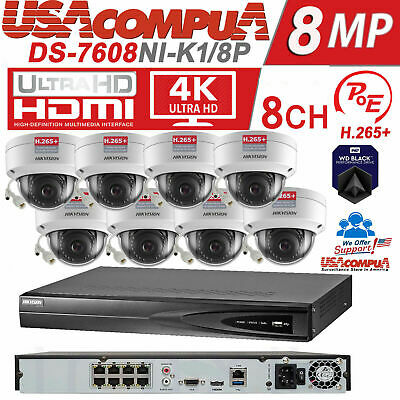 HIKVISION NVR KIT Security System whit 8 4MP Dome IP POE Camera Original  H265+