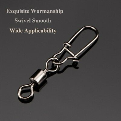 Stainless Steel Ball Bearing Fishing Swivels Snap Rolling Sea Connector 50Pcs