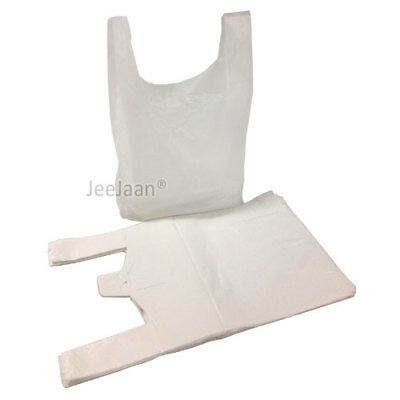 "200 WHITE VEST STYLE CARRIER BAGS PLASTIC POLY 13"" x 19"" x 23"" HEAVY DUTY 25MU"