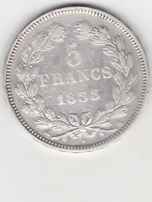 5 Francs Louis Philippe  Tete Lauree 1833 B
