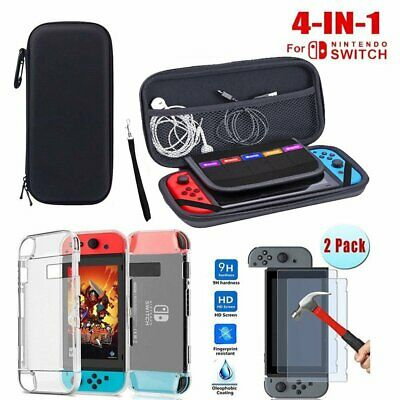 For Nintendo Switch Travel Carry Case Bag Glass Screen Protector Charge Cable US