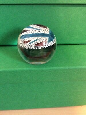 Caithness London 2012 Olympics Blue Union Jack Paperweight