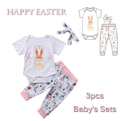 Girls Newborn Romper+Pants+Headband Bunny Ears Baby Outfits Set Happy Easter