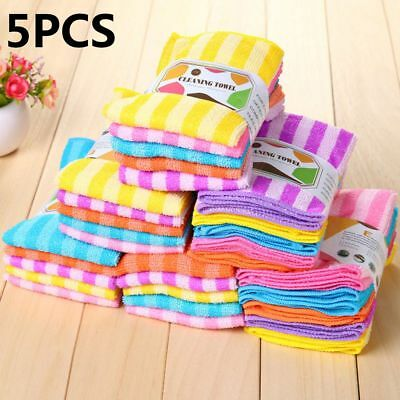 5PCS Kitchen Stripe Dining Wash Wiping Rags Wash Cloth Microfiber Clean Towels